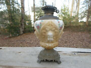 Antique Gwtw Electric Oil Lamp With Angle Cherub Globe Hand Painted Original