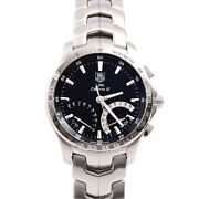 Tag Heuer Cjf7110 Link Caliber S Battery Operated Menand039s Ss Black Dial [e0222]