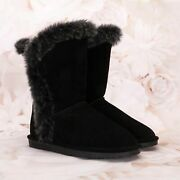 Bearpaw Womenand039s Fashion Winter High-top Boots Size 9m Suede Wool Lining Black