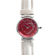 Louis Vuitton Q12m2 Tambour Attraction Wine Red Dial Ladies Ss [e0222]