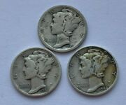 Lot Of 3 Silver Mercury Dime 19201930 And 1940 S Coins
