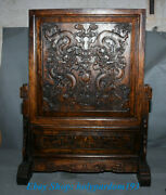 24 Old Chinese Huanghuali Wood Hand-carved Dragon Shelf Luck Folding Screen