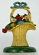 John Wright Basket Of Flowers Cast Iron Door Stop Easter Usa 10 1/4 3 1/2 Pound