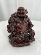 Laughing Buddha Red Wood Hand Carved Sculpture Wealth Happy