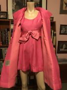 Vintage Reconstructed Iconic Pab Hot Pink Hot Pants Romper Matching Evening Coat