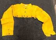 New Leather Welding Cape Sleeve,half Jacket Size S Small Golden Yellow