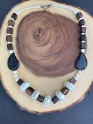 Vintage Carved Wooden Leaves Celluloid Bead Necklace With Sterling Silver Clasp