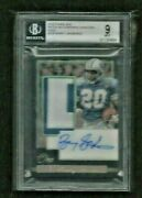 Barry Sanders 2018 Panini One Gold Prime Patch Auto 1/3 On-card Bgs 9 Mint Read