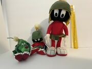 """Looney Tunes Marvin The Martian Plush Lot Of 3 1990s Vintage 14"""" Marvin Plus K-9"""