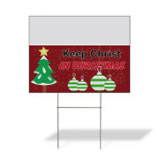 Weatherproof Yard Sign Keep Christ In Christmas A Red Lawn Garden Charities