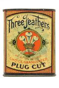 Scarce 1900s Three Feathers Litho Hinged Pocket Tobacco Tin In Good Condition
