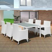 7/9 Piece Outdoor Dining Set With Cushions Poly Rattan Furniture Table Chairs Us