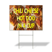 Weatherproof Yard Sign Chili Cheese Hot Dog In A Cup Orange Lawn Garden