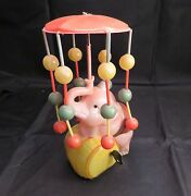 Vintage Occupied Japan Celluloid Wind Up Elephant And Umbrella, Stamped