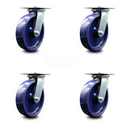 Heavy Duty Large Top Plate Solid Poly Swivel Caster Set Of 4 W/8 Wheel - Scc