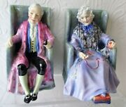 Pair Of Vintage Royal Doulton English Porcelain Figurines Darby And Joan Hn 1427
