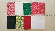 Lot Of 8 Yards Christmas Toss Reindeer Santa Snowflake Dots Holly Cotton Fabric