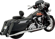 Bassani +p Stepped True Duals B1 Exhaust System Chrome With Black End Caps 1f56r