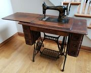 Antique 1917 Gingerbread Singer Treadle Sewing Machine With Cabinet