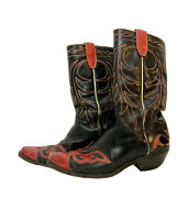 Vintage Acme Black Red Flame Leather Cowboy Boots Inlay Mens 8d Western W 9d