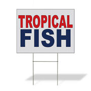 Weatherproof Yard Sign Tropical Fish Red Blue Lawn Garden