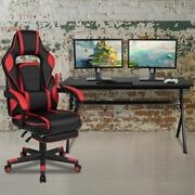 Gaming Desk W/cup Holder/headphone Hook/removable Mousepad Top And Red Reclining B