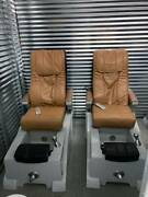 2 Pedicure Spa Chairs With Shiatsu Massage And Jacuzzi Foot Tub Excellent