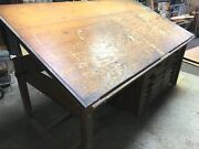 Drafting Table Large Antique Oak With Blueprint Drawers