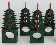 +dept 56 Napkin Ring Holders Christmas Tree Wood Green Red Hearts Stand Up
