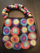 Rising Tide Purse Black And Multicolored Felted Wool With Pom Pom Handle