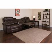 Reel Comfort Series 3-seat Reclining Brown Leathersoft Theater Seating Unit W/st