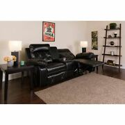 Reel Comfort Series 2-seat Reclining Black Leathersoft Theater Seating Unit W/st