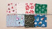 Lot Of 8 Yards Christmas Toss Snowmen Presents Candy Penguin Bows Cotton Fabric