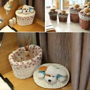 Rattan Storage Basket With Cute Bear Lid For Laundry Toys Handmade Home Decor