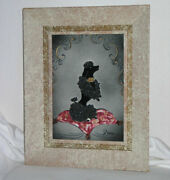 Vintage French 1950s Spaghetti Poodle Dog Tile In Period Frame Signed Nina