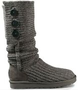 Ugg Australia Boots - Cardy Knit Tall Sweater Button Gray Women's Size 7
