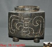 Unique Chinese Hongshan Culture Old Jade Carved Sacrifice Ashtray Pot Pen Wash
