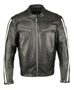 M Boss Motorcycle Apparel Bos11508 Menand039s Black And White Armored Leather Jacket