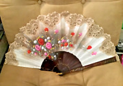 Huge Vintage Signed Hand Painted Linen Fan With Ecru Lace