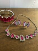 Pink And Rhinestone Necklace Braclet And Hair Clips Butterfly Euc