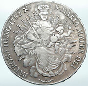 1752 Hungary Maria Theresia Madonna And Child Antique Old Silver Taler Coin I88132