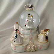 Disney Princesses Wedding Cake Cinderella Belle Ariel Figurine Music Snowglobe