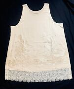 Logo Lavish By Lori Goldstein New Coconut Ivory Embroidered Beaded Tunic Nwt Xl