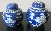Antique Vintage Chinese Blue And White Ginger Jars