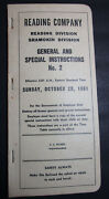 Reading Co Reading/shamokin Division General And Special Instructions No 2 1961