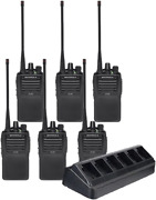 6 Pack Of Motorola Vx-261 Vhf Two Way Radios Preprogrammed With Multi-charger