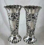 Victorian Silver And Blue Glass Posy Vases Jdands Sheffield 1900 13.8cm Aezx