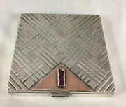 Art Deco Boucheron Of Paris Silver Gold And Rubies Compact Af 1935 113g Dzx
