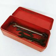 Metal Toolbox Vintage Red Assorted Wrenches Circa 1940s Collectible Decor