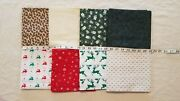 Lot Of 8 Yards Christmas Gingerbread Gifts Reindeer Snow Sparkle Cotton Fabric